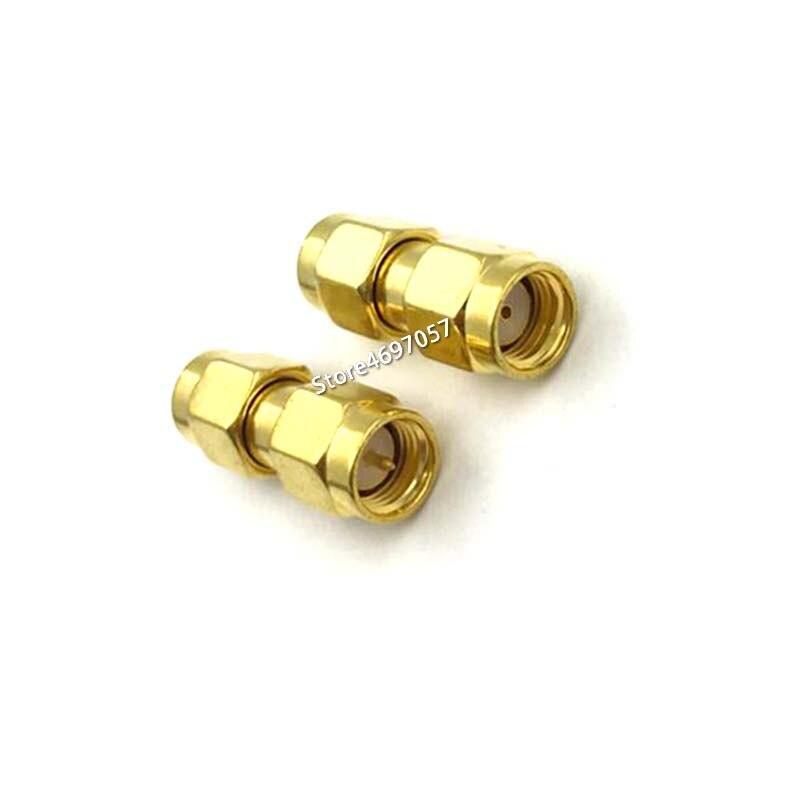 Venda quente Adaptador Coaxial RF SMA Macho para RP SMA Macho Goldplated Reta
