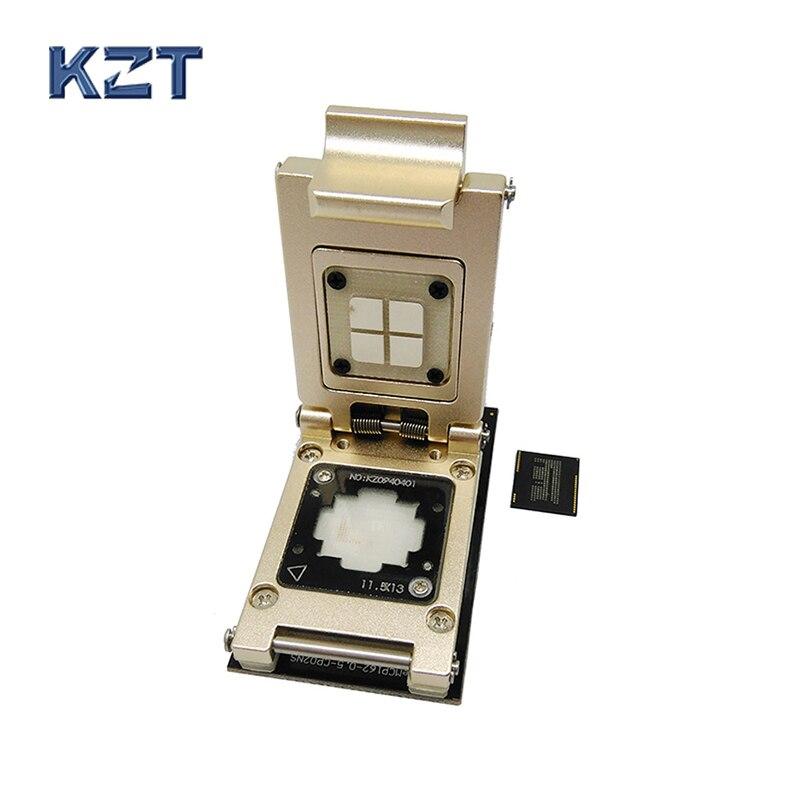 مقبس اختبار دبوس eMCP Pogo مع واجهة SD ، صدفي من سبائك الألومنيوم Nand flash BGA186 مقاس 11.5 × 13 درجة 0.5 مللي متر