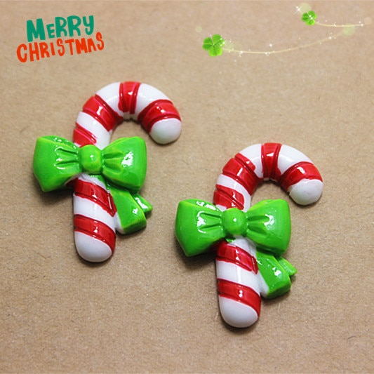 10pcs Resin Christmas Crutch Flatback Cabochons Art Supply DIY Holiday Craft Decoration,28*36mm(SD10