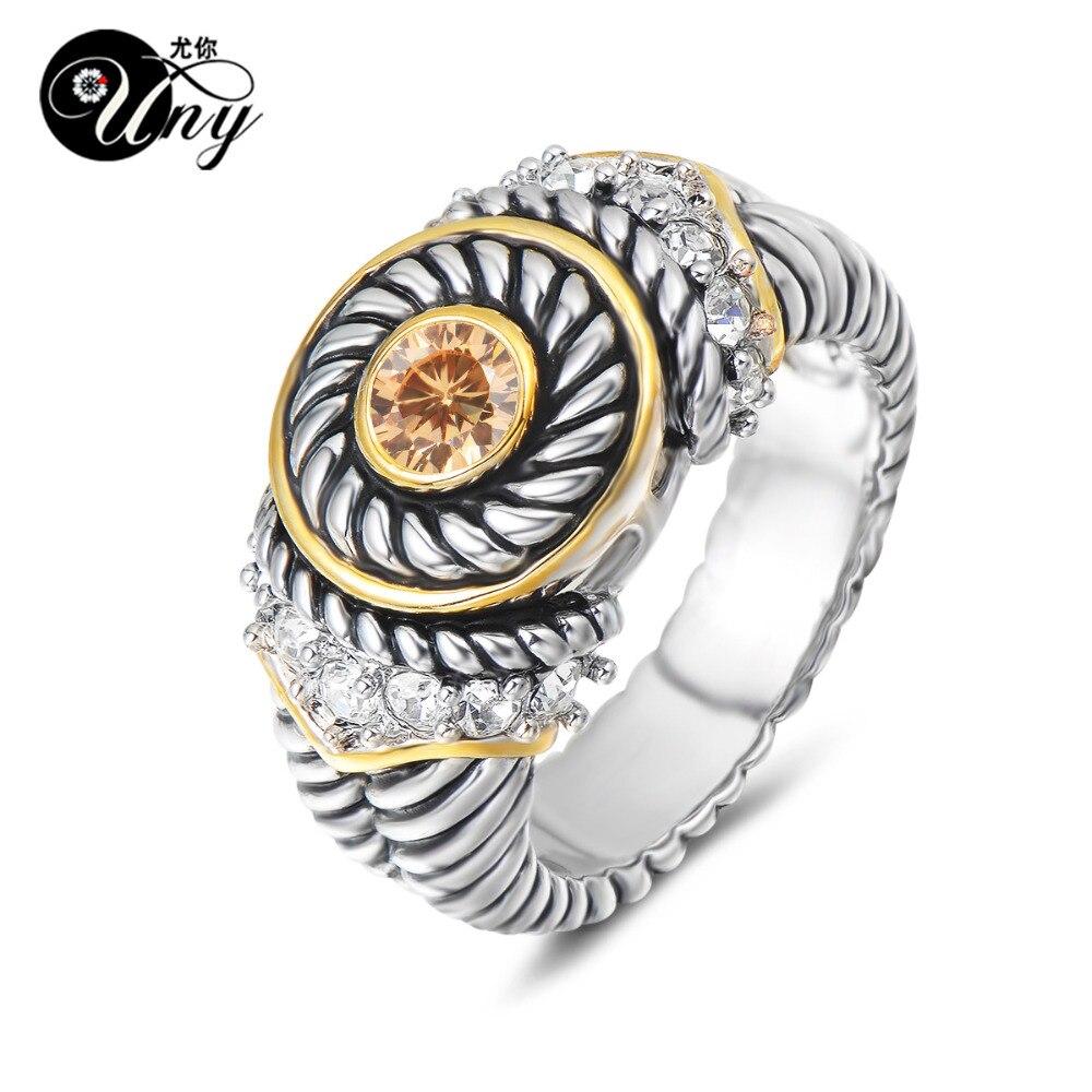 UNY, anillo de joyería Vintage, anillos antiguos de diseñador de moda, marca Hardy, anillos CZ para mujer, anillo de boda, regalos de San Valentín, Navidad