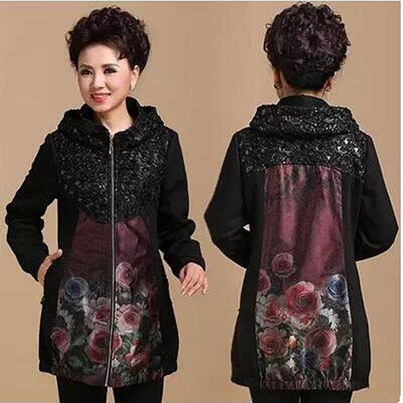 Tamaño XL XXL XXXL Xxxxl (busto 121 cm) de mediana edad y vieja chaqueta de Abrigo con capucha de talla grande ropa de mujer de moda