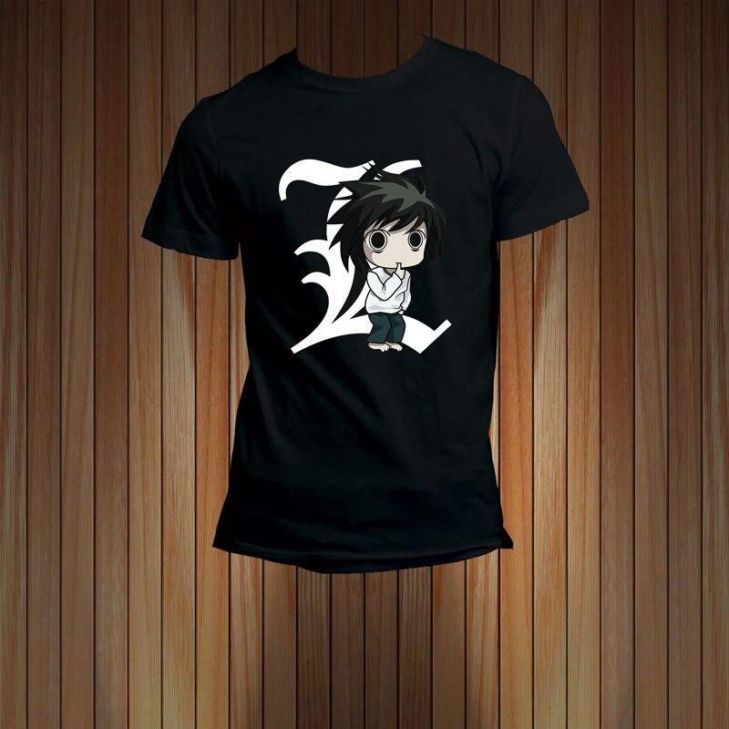 100% Cotton Print Mens Summer Death Note L Chibi Anime Cartoon Series Mens T-Shirt Tee Tee Shirt