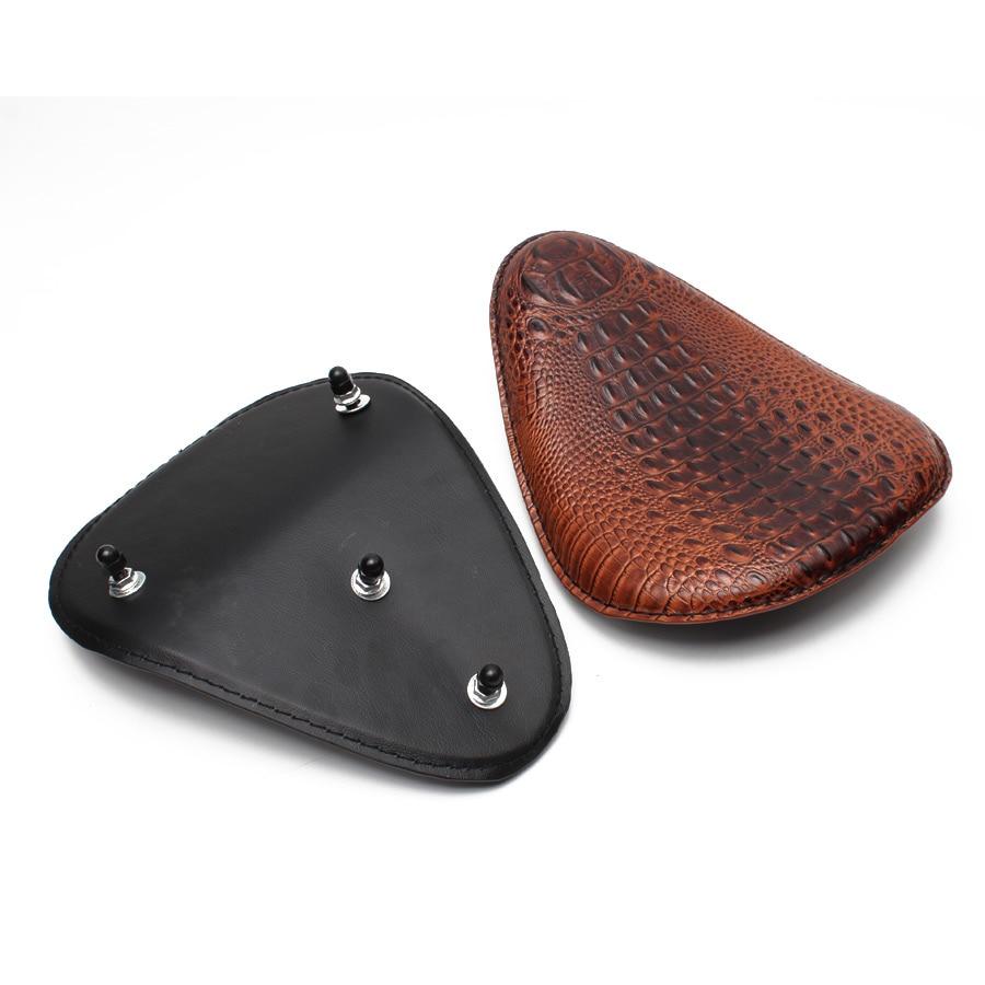Motorcycle Retro Brown/Black Crocodile Leather Solo Seat+3