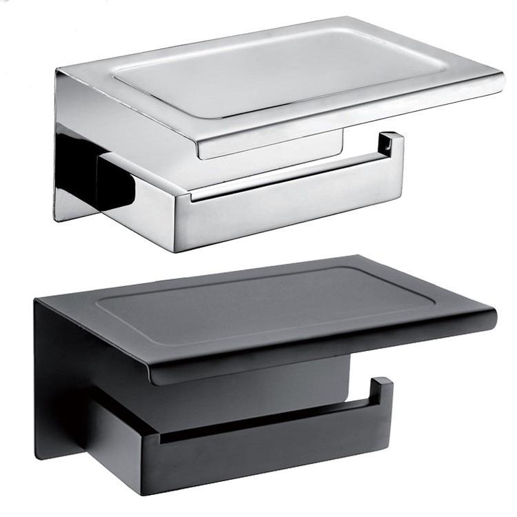 حامل ورق التواليت للحمام من الكروم الأسود ، لونين ، مع رف ، ملحقات أجهزة الحمام ، الفولاذ المقاوم للصدأ ، بدون سطح