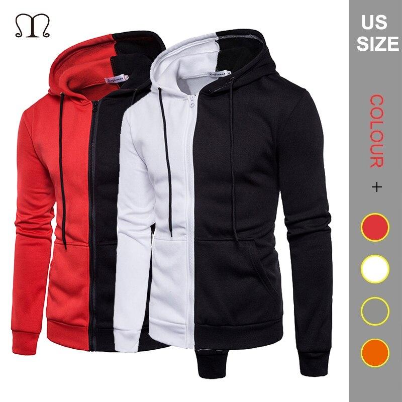 Zip Hoodie hombres mujeres moda 2019 Otoño Invierno Patchwork sudadera masculina ropa de calle Unisex US Size Hoody Jacket Mens