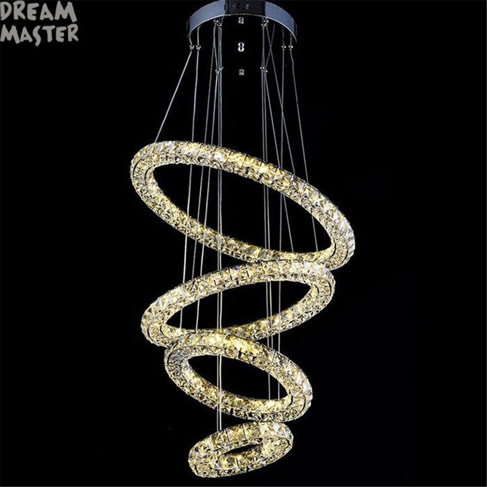 نجفة كبيرة الحديثة LED كريستال 4 خواتم الثريا Lustres تركيب المصابيح تعليق ضوء Lumiere LED الدوائر الإضاءة مصباح
