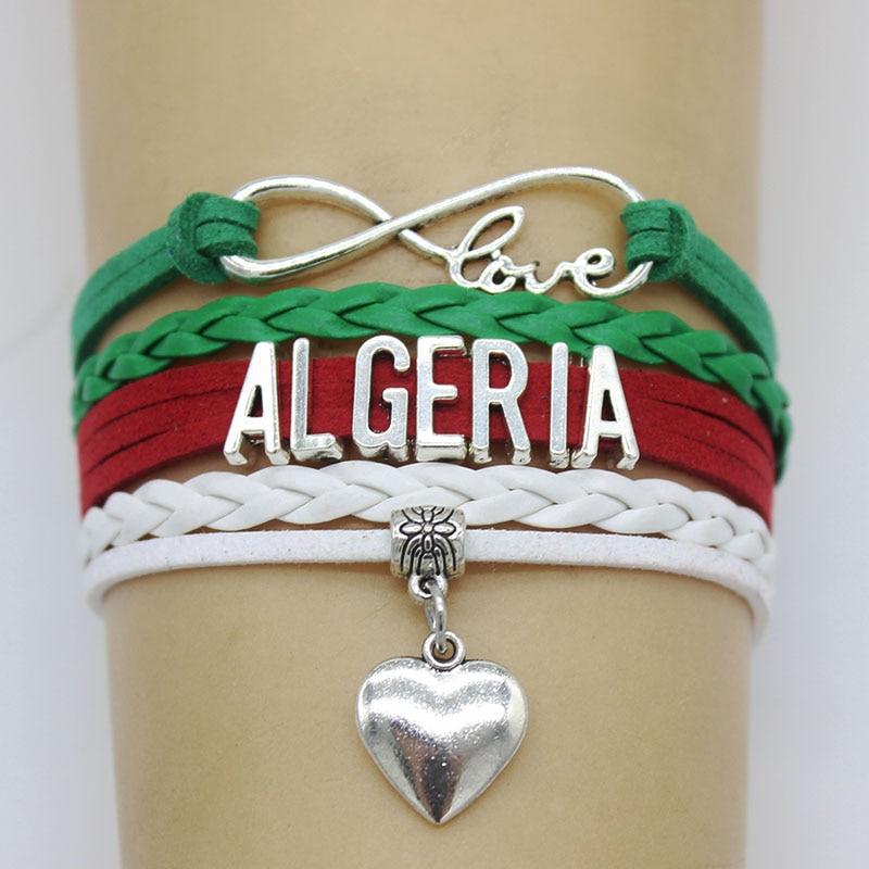 Бесконечность любовь Алжир браслет очарование ручной работы коса Многослойные Кожаные плетеные браслеты для женщин мужчин ювелирные изделия