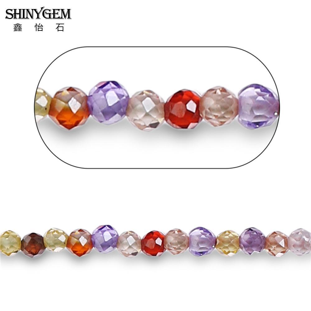 Shinygem facetado corte redondo zircão cristal 2mm/3mm multi cores grânulos de pedra de vidro para fazer jóias por atacado strass grânulos