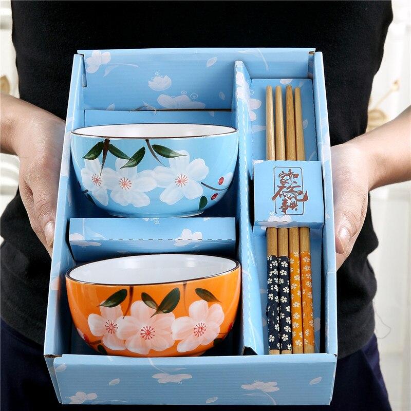 Japonês-estilo criativo pintados à mão cerâmica casa tigela presente tigela e pauzinhos kit bonito casal utensílios de mesa tigela de arroz