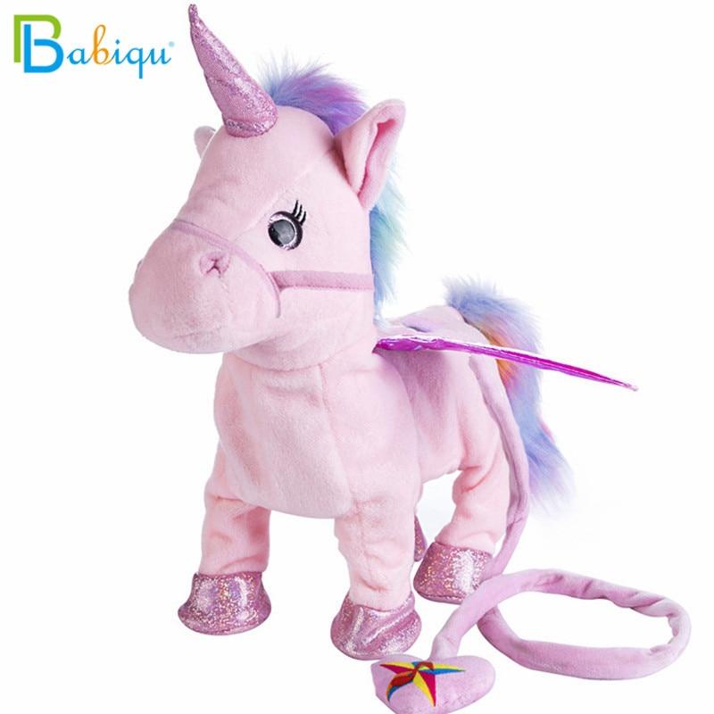 Babiqu 1pc Electric Walking Unicorn Plush Toy Stuffed Animal Toy Electronic Music Unicorn Toy for Children Christmas Gifts 35cm