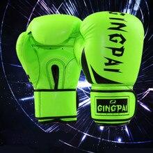 Kick Boxing mma gants cuir polyuréthane guantes de boxeo Muay Thai karaté taekwondo entraînement boxe gant (vert/jaune/orange/)