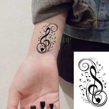 Waterdichte Tijdelijke Tattoo Sticker Muzieknoot Fake Tatto Flash Tatoo Hand Terug Voet Tatoeages Voor Meisje Vrouwen Mannen Kid