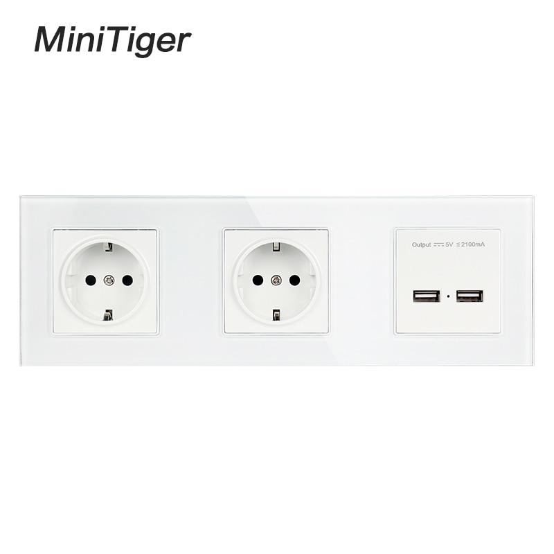 Minitiger-لوحة حائط زجاجية مع قابس الاتحاد الأوروبي ، منفذ شحن USB مزدوج ، خرج 5 فولت 2 أمبير ، أبيض