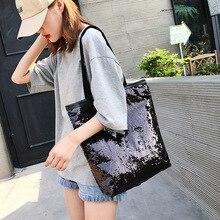 2020 Portable Sequin Handbags Women Fashion Sequins Shopping Bag Large Capacity Glitter Beaded Shoulder Bag Sequin Beach Bag