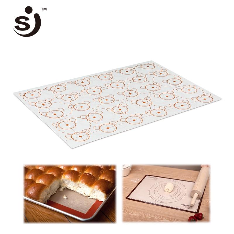 SJ Brand Baking Sheet Liner White Cartoon 29.5*42 cm Non-Stick Glass Fiber Silicone Pad Macaron Bakeware Tray Mats  Kitchen Tool