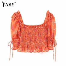 Chiffon Blouse Women Shirts Square Neck Vintage Floral Shirred Waist Puff Sleeve Ruffle Crop Tops Ladies Elegant Boho Clothing