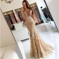champagne 2019 dresses mermaid tulle appliques lace backless party maxys long new gown 2018 dresses robe de soiree
