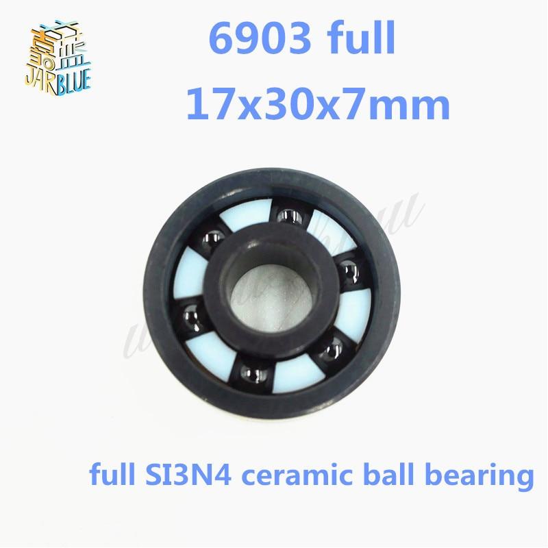 Frete grátis 6903 completa SI3N4 rolamento de esferas profundo do sulco de cerâmica 17x30x7mm conjunto completo 61903