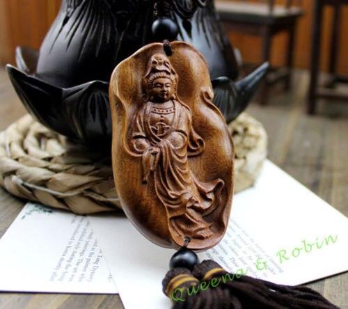 Gravura em madeira kwan guan kwan yin carro pingente amuleto artesanato de madeira