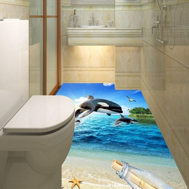 Free Shipping 3D surf beach shell sea star living room bathroom floor self-adhesive bedroom kitchen study flooring mural