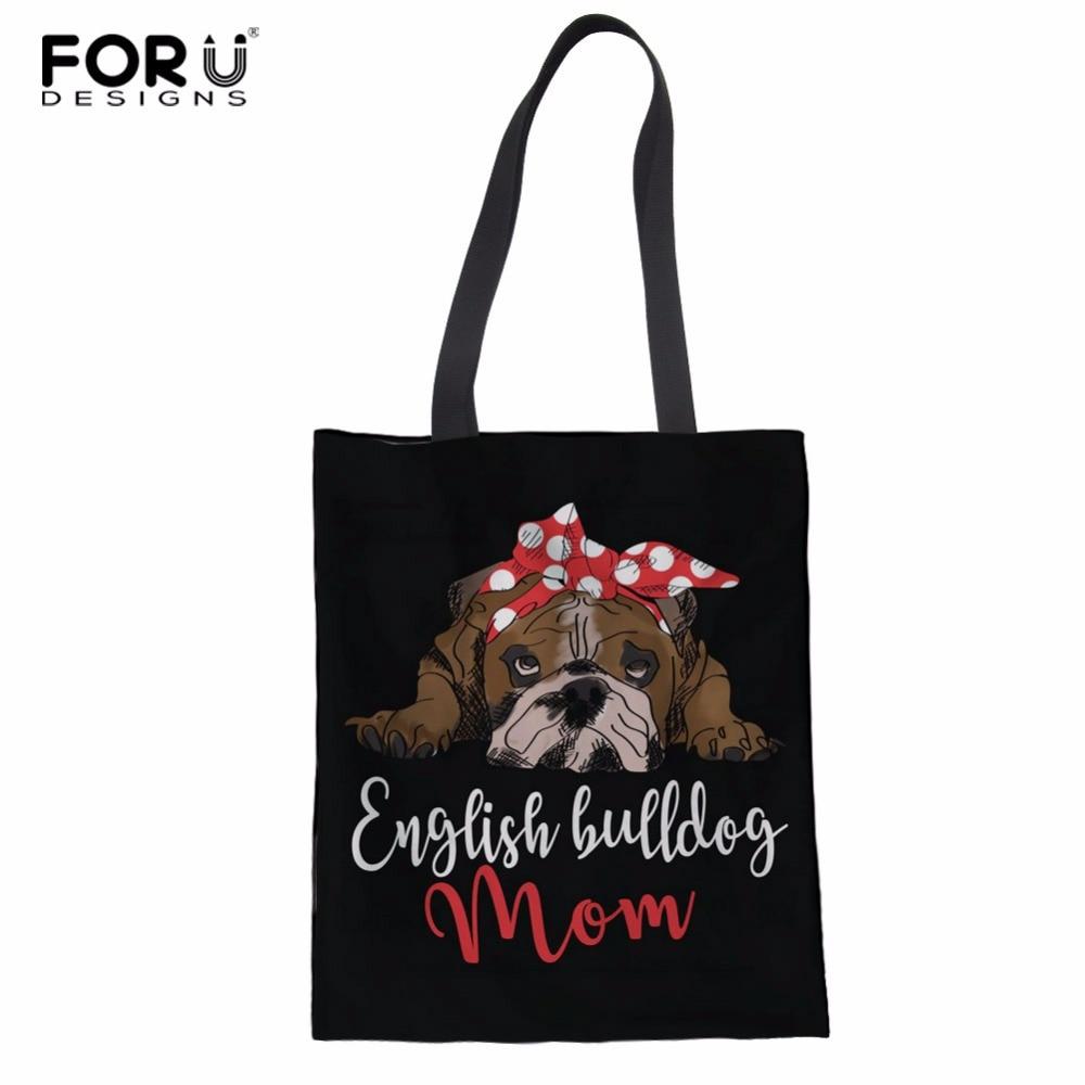 FORUDESIGNS Bulldog Inglês Lona de Algodão Sacola De Compras De Supermercado Saco Senhoras Bolsa de Ombro Fêmea Sacola Bolsa Dobrável Reutilizáveis Eco
