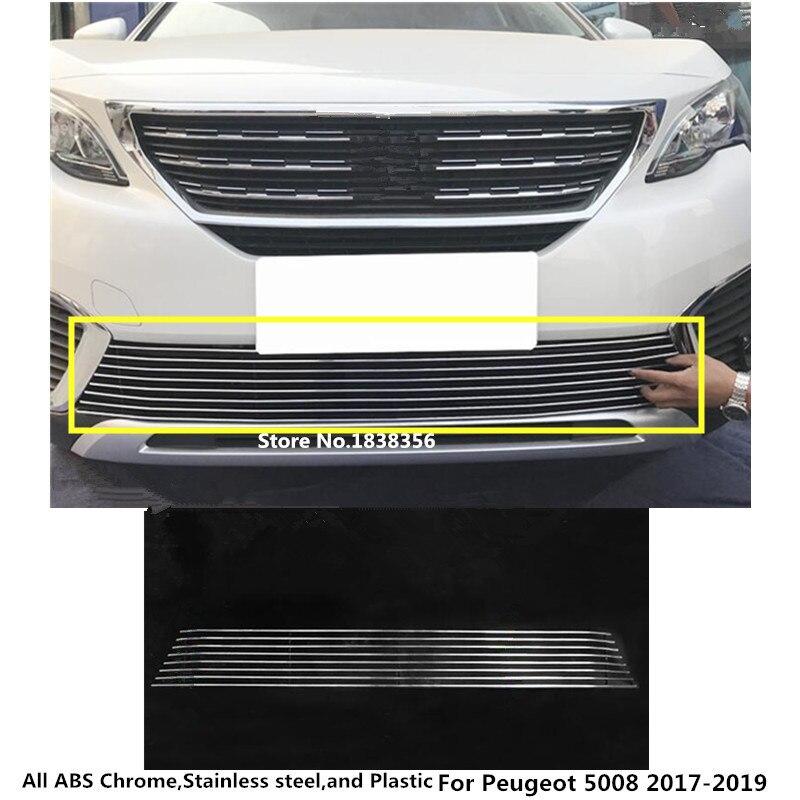 Para Peugeot 5008 2017 2018 2019 2020, Detector de carrocería, embellecedor de placa, rejilla delantera para carreras, rejilla, rejilla, parasol, marco de Panel