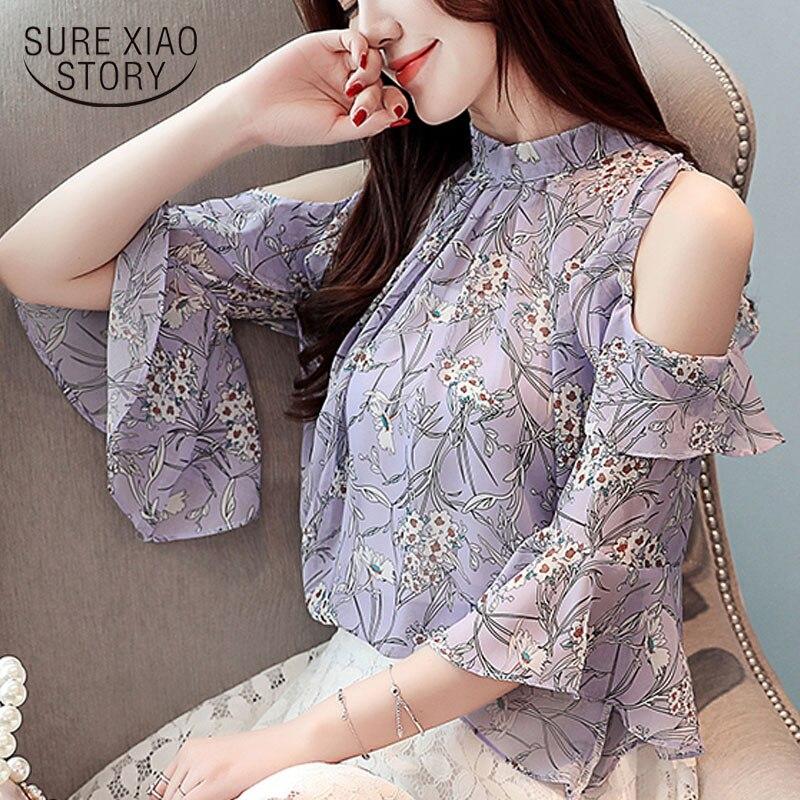 Blusas femeninas elegante 2019 Blusa de gasa Floral con soporte de manga de mariposa ropa de moda coreana tops de mujer harajuku 3524 50