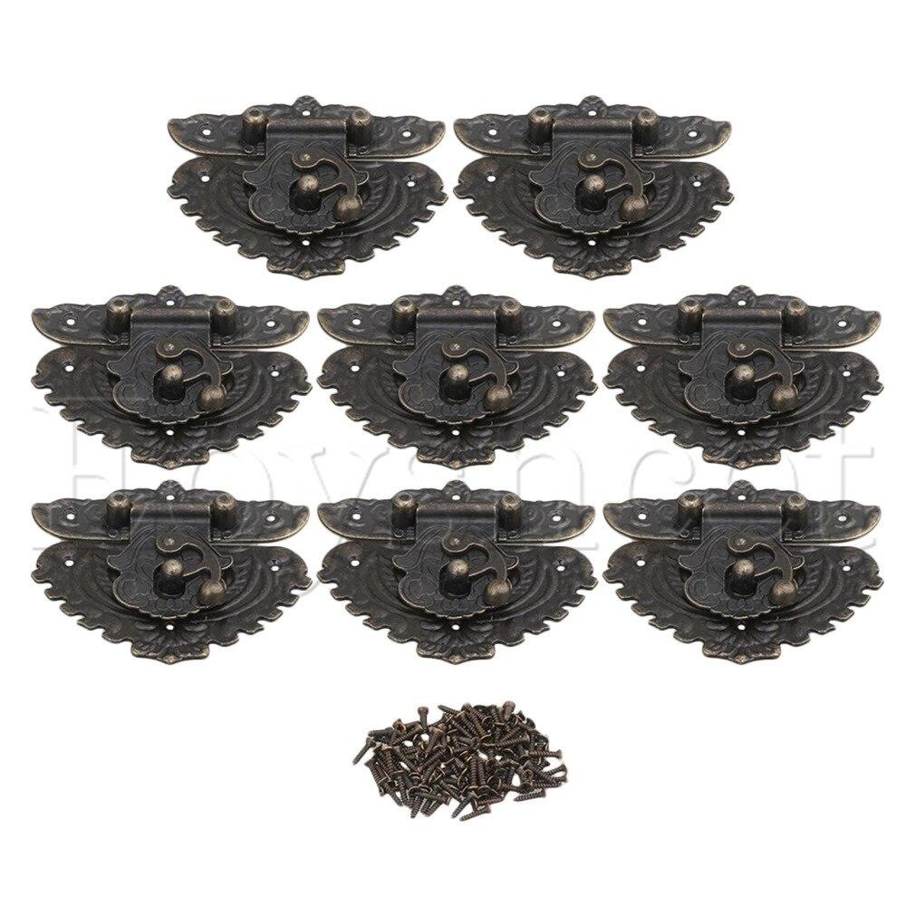 8 Uds. Caja metálica de madera de 84x74mm pestillos de bronce
