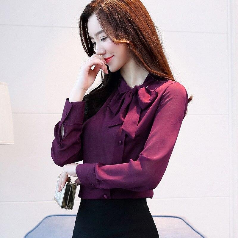 Women Chiffon Long Sleeve Blouses Feminine Bow OL Shirt New Elegant Tops