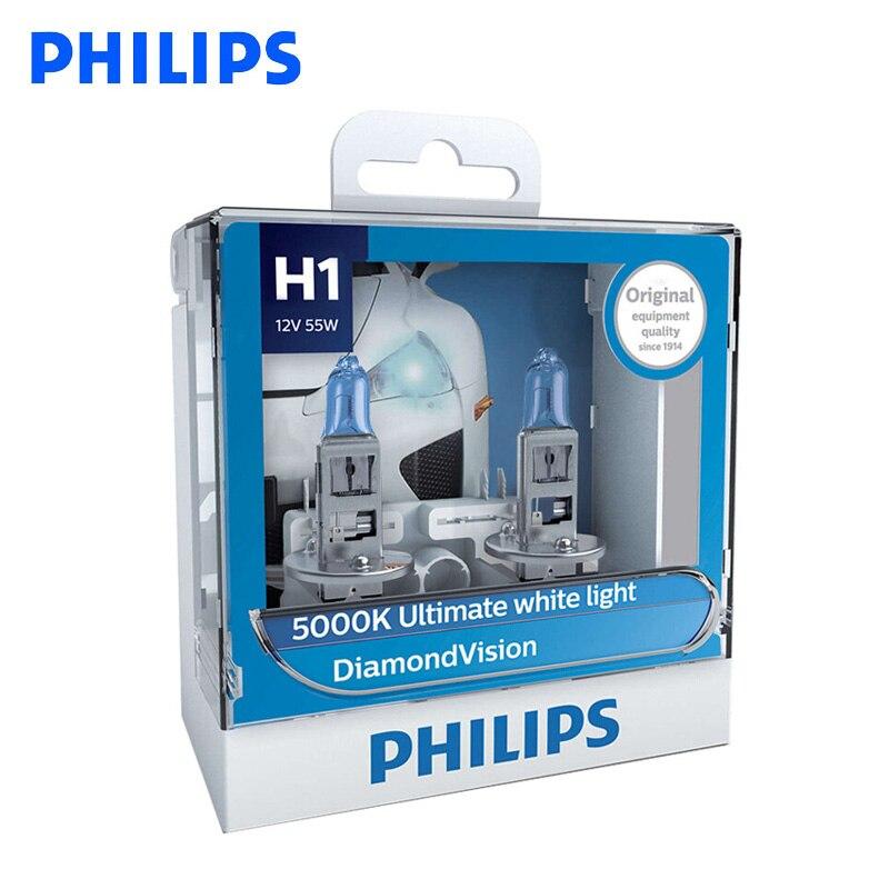 Philips H1 H4 H7 H8 HB3 HB4 9003 9005 9006 12V Diamond Vision 5000K faro antiniebla faro de coche luz blanca súper xenón, par