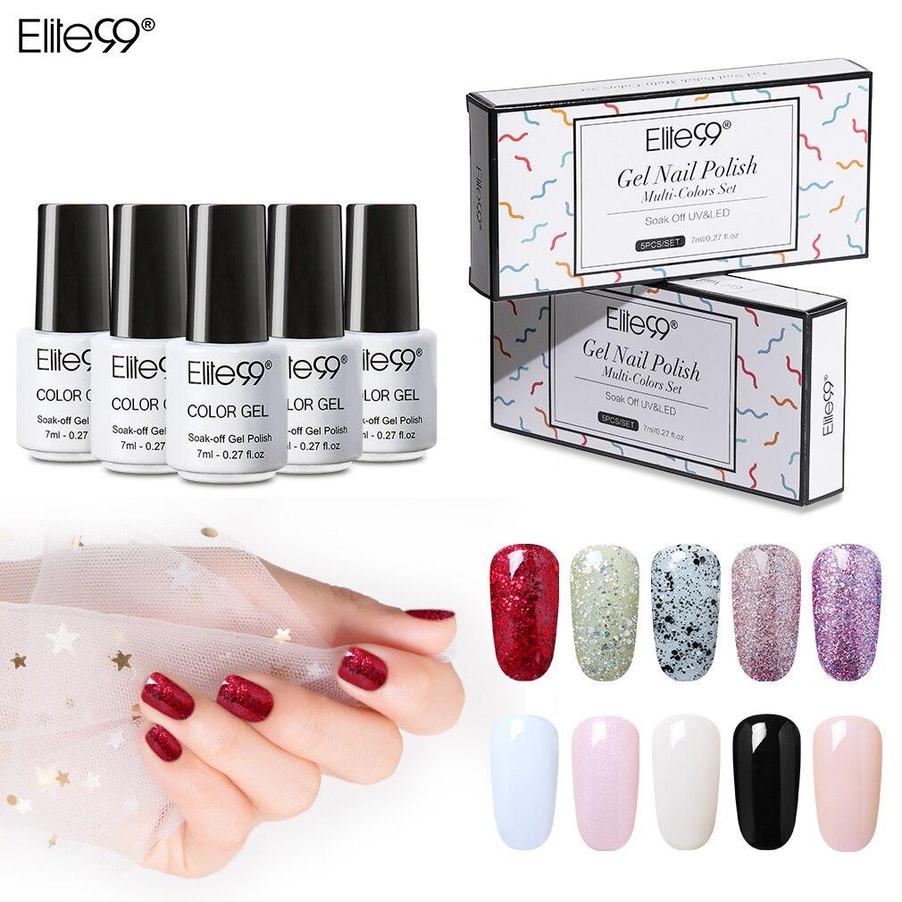 Elite99 5 piezas de esmalte de uñas de Gel de 7ml con caja de regalo Soak Off LED UV para uñas de Gel esmalte Semi permanente Nail Art manicura Gel barniz