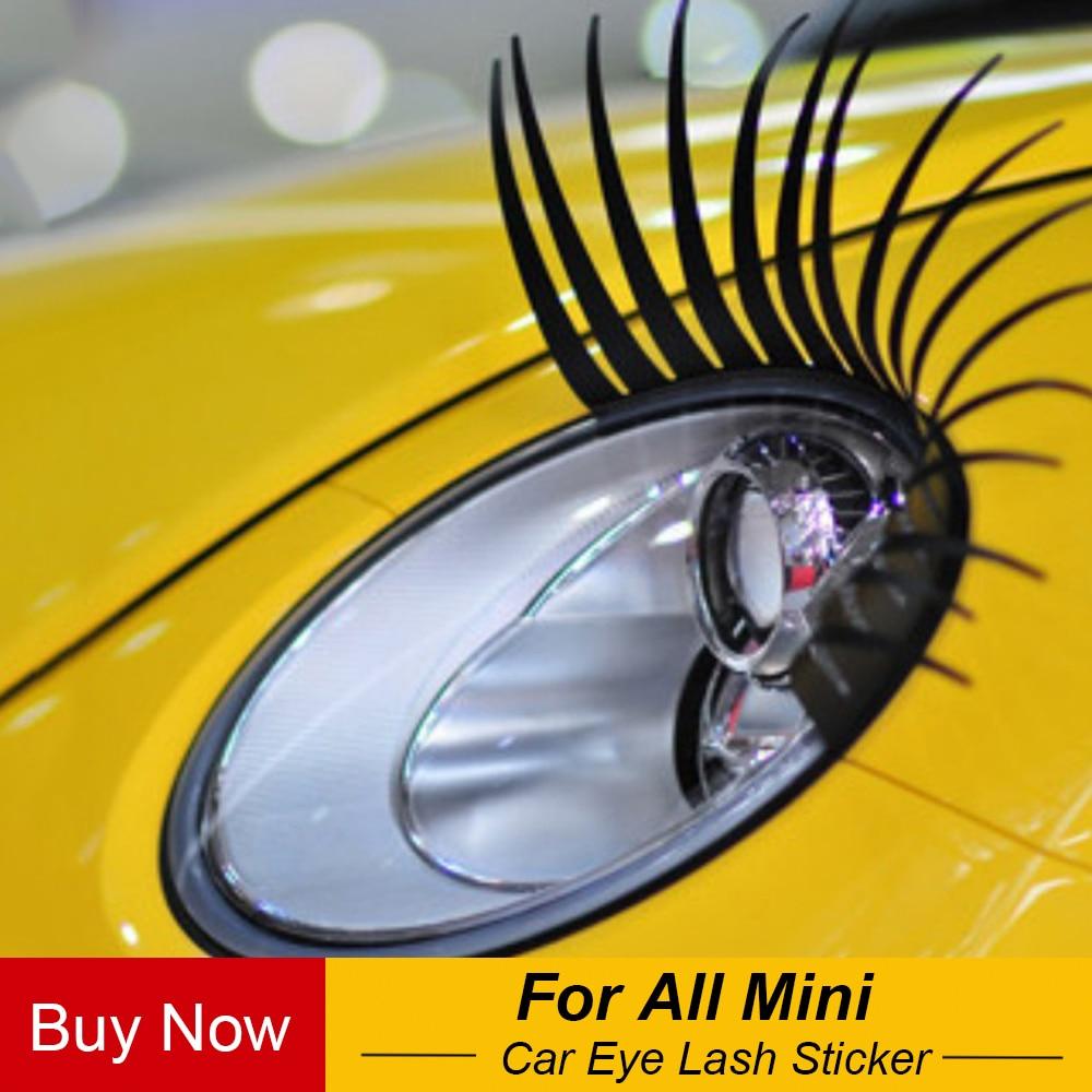 2 stücke Auto 3D Schwarz Falsche Wimpern Gefälschte Wimpern Aufkleber Auto Scheinwerfer Dekoration Aufkleber Für Mini Cooper Eine JCW S Auto-Styling