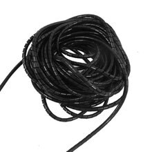 MYLB-6mm Buiten Dia 6.4M PE Polyethyleen Spiral Cable Wrap Tube Black