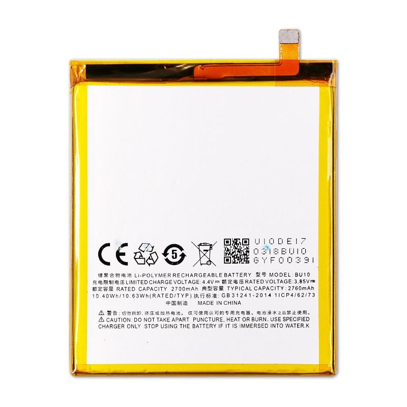 20 unids/lote batería de repuesto para teléfono móvil BU10 ForMEIZU U10 2760mAh batería interna para teléfono móvil inteligente de litio