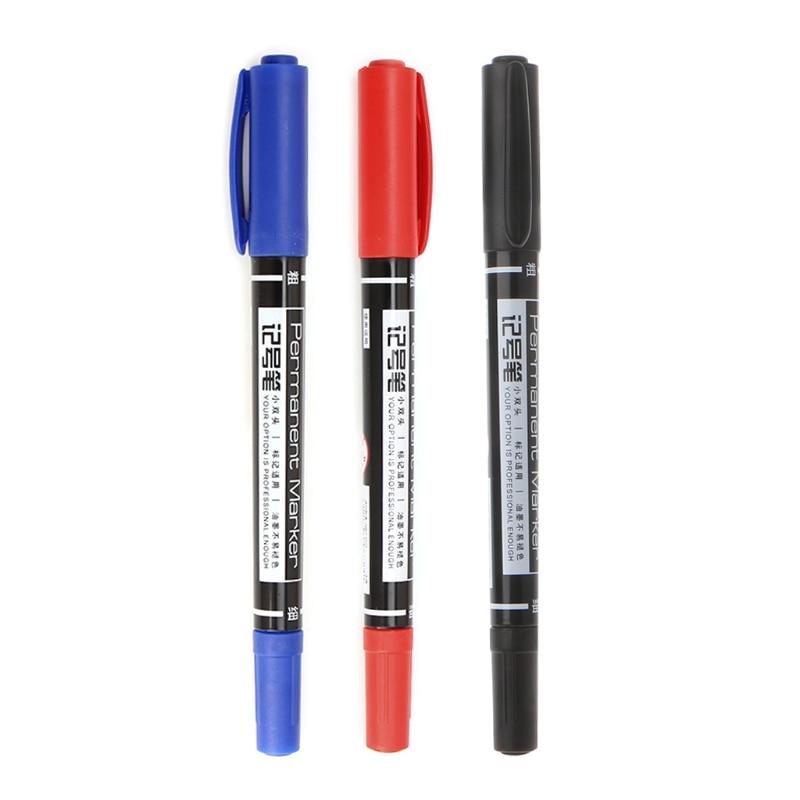 1 ud. Bolígrafo con indicador lateral doble de secado rápido tinta resistente al agua herramienta permanente de escritura de oficina azul/rojo/Negro C26