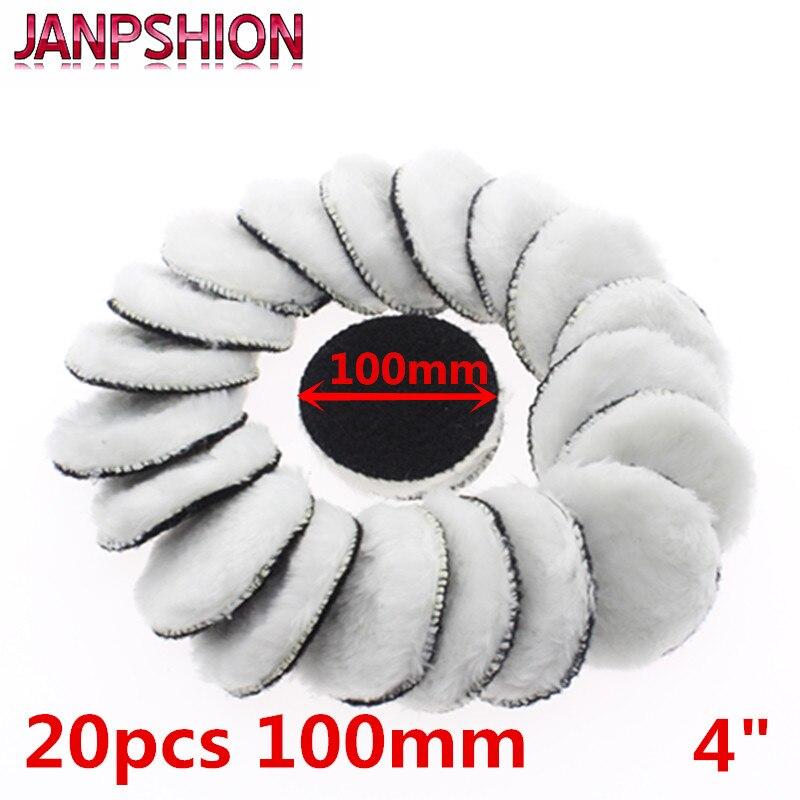JANPSHION 20 piezas de 100mm de abrillantado para coche pad 4 pulgadas almohadillas de encerado pulido de lana capó cuidado de la pintura del coche
