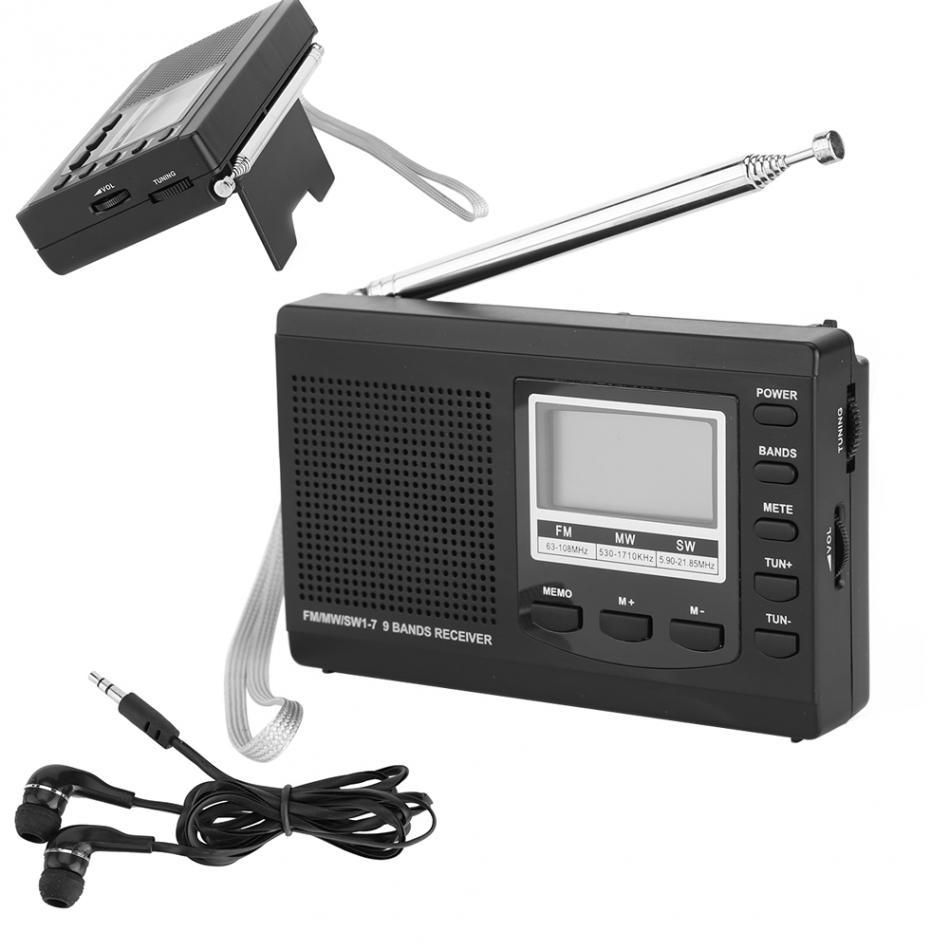 Portable Emergency Radio Mini FM Radio DSP FM / MW / SW Receiver with Digital  Antenna FM Receiver Support Speaker + Earphone