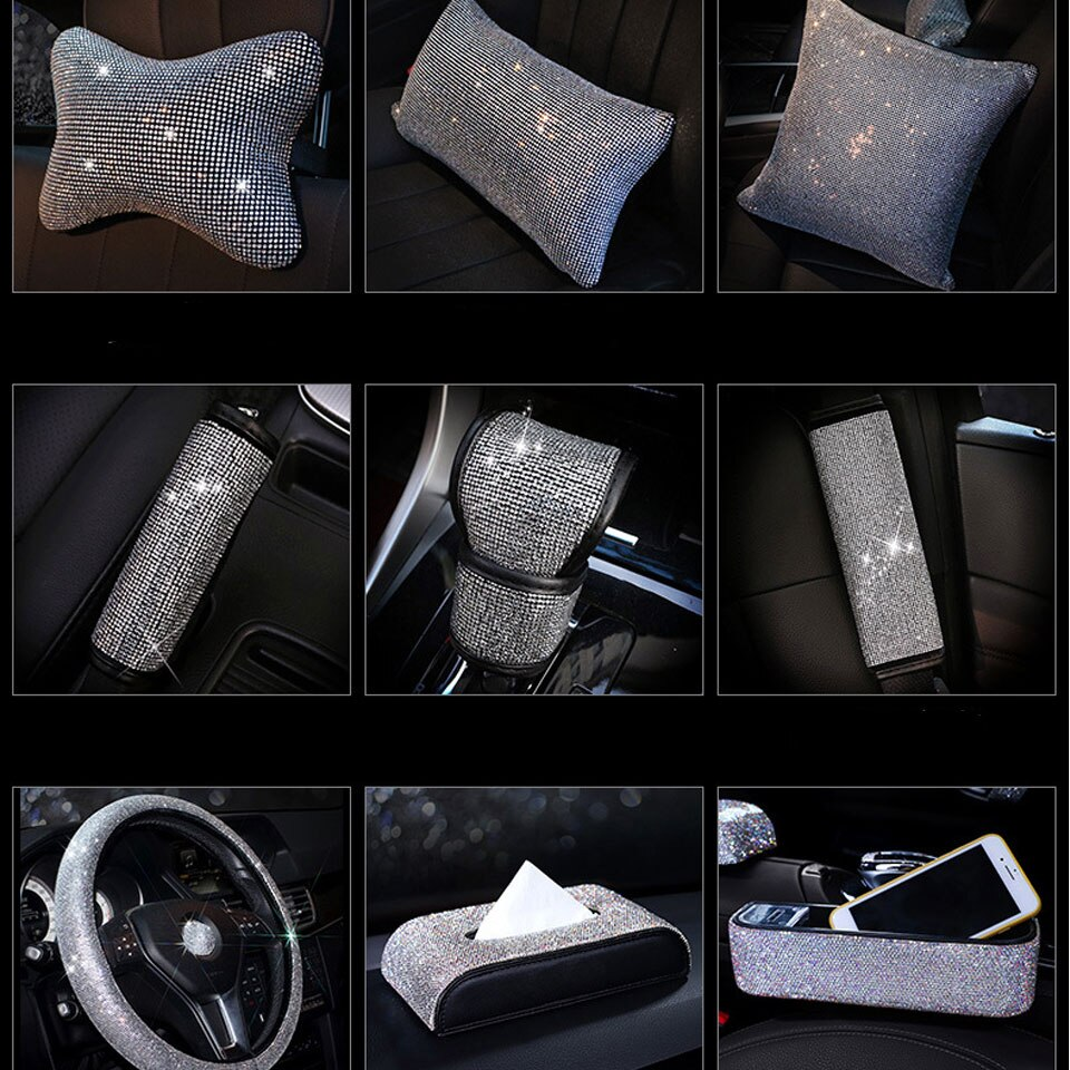 Rhinestone Bling cristal ostentoso cubierta de cinturón de seguridad de coche pad cuello almohada cintura apoyo volante cubierta accesorios de Interior de coche