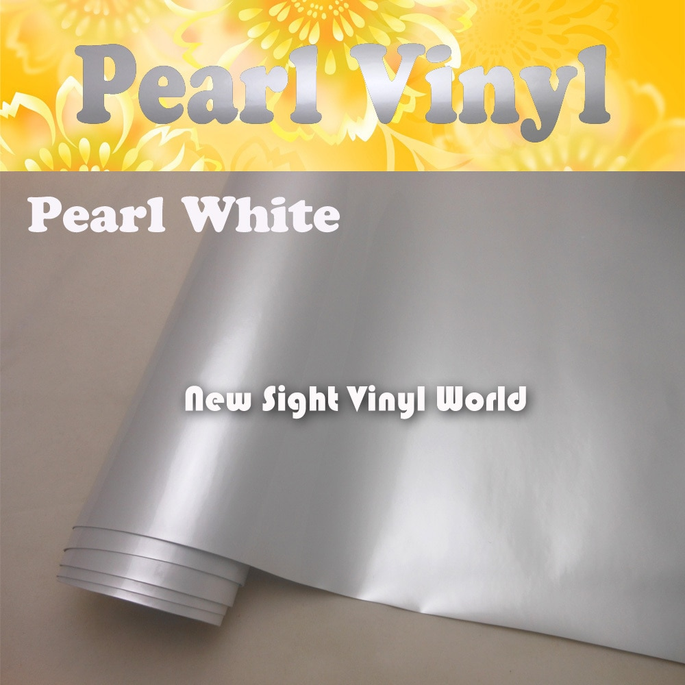 Envoltura blanca perlada brillante Premium envoltura blanca perlada para coche sin aire tamaño del embalaje del coche 1,52*20 M/rollo (5 pies x 65pies)