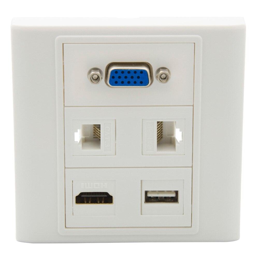 86 Type No Screw VGA RJ45 RJ11 HDMI USB Female To Female Wall Plate