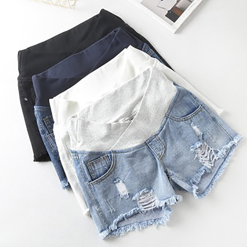 Pregnant Women's Shorts Summer Wear Low-Waisted Denim Shorts Summer Wear New Spring Loose Pants for