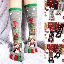 BKLD 2019 Neue Mode Frauen Lustige Cartoon Gedruckt Toe Socken Baumwolle Fünf Finger Socken Casual Weiche Socken Frauen Weihnachten Socke