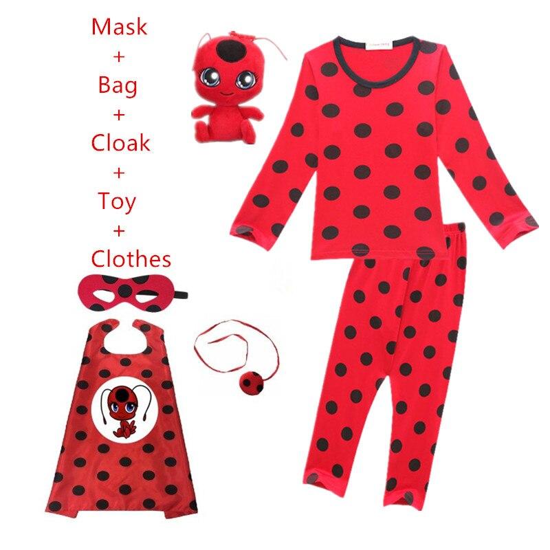Disfraz de mariquita para niñas, ropa de Navidad para niñas, ropa de Marinette de Ladybug, ropa de Cosplay para niñas