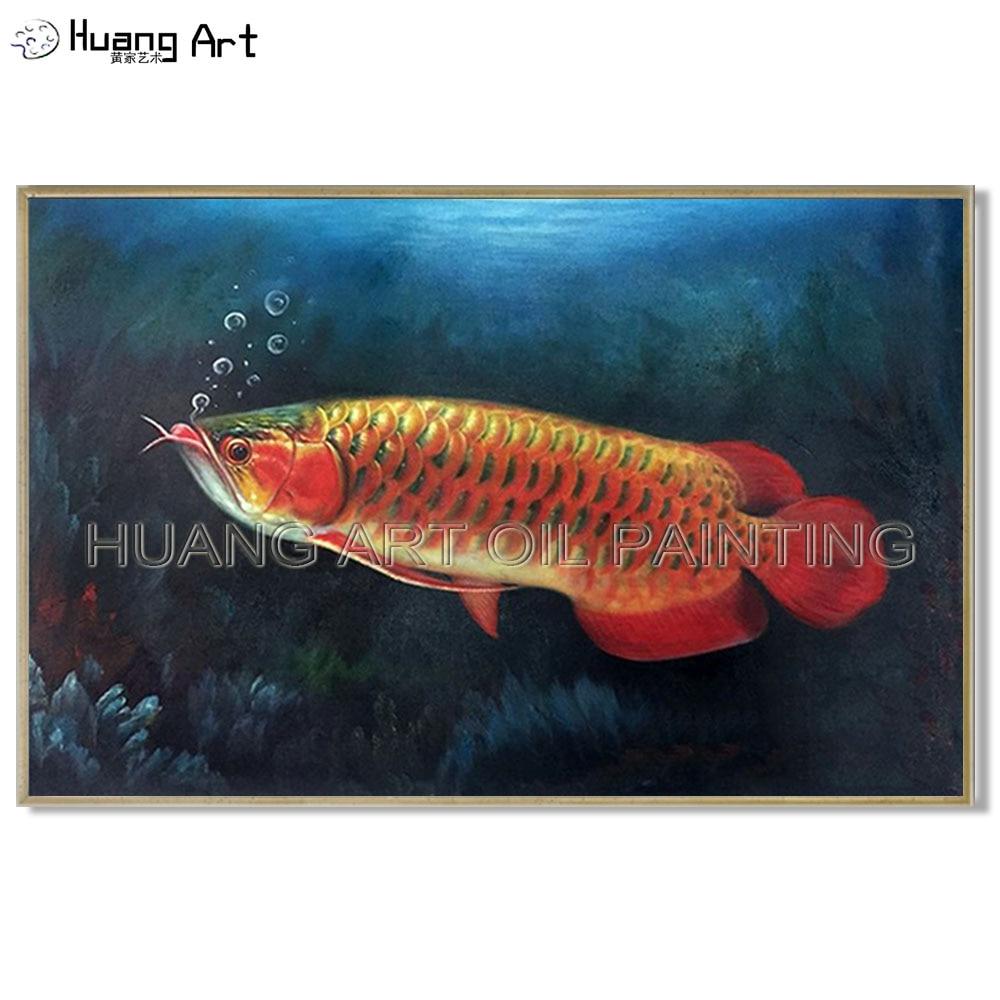 Nuevo estilo de alta calidad, animales de pez rojo nadan en el mar, pintura al óleo Arowana dorada pintada a mano para Decoración