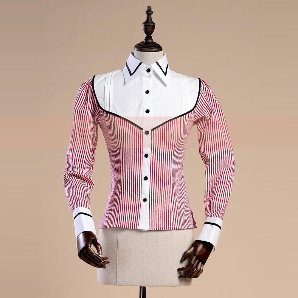 Женская хлопковая рубашка в полоску, винтажная Готическая жаккардовая блузка в красную полоску, Повседневная облегающая деловая рубашка, в... блузка в полоску