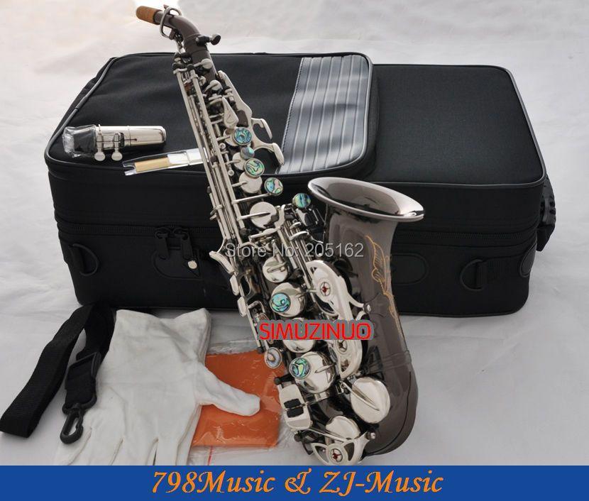 Saxofón Soprano curvado de níquel negro Bb saxo abulón clave alto F # con funda