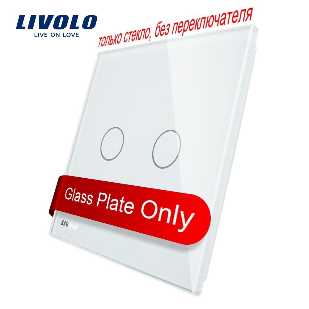 Livolo роскошное белое жемчужное Хрустальное стекло, стандарт ЕС, одинарная стеклянная панель для 2 стеновых сенсорных выключателей, VL-C7-C2-11 (4 ц...