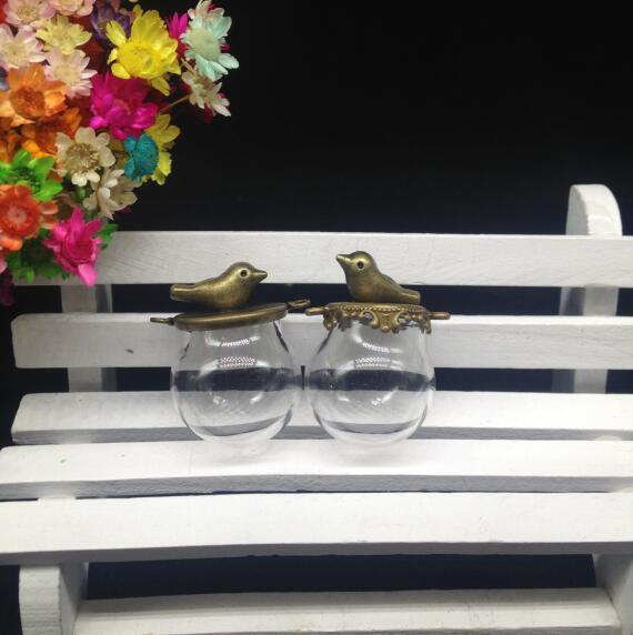 500 مجموعات/وحدة 20*15 ملليمتر الزجاج قوارير الزجاج قلادة الزجاج العالم البرونزية مطلي قاعدة الطيور رغبة زجاج قبة الغلاف