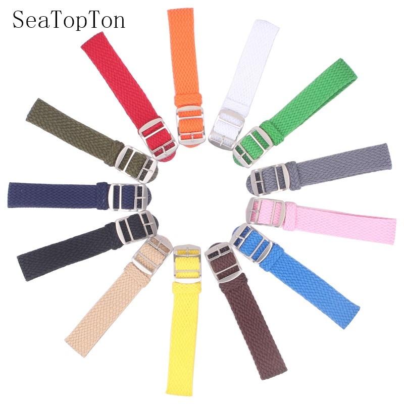 AliExpress - 14mm 16mm 18mm 20mm 22mm Solid color Perlon Woven Nylon watchbands bracelet fabric Woven Watch Strap Band Buckle belt black blue