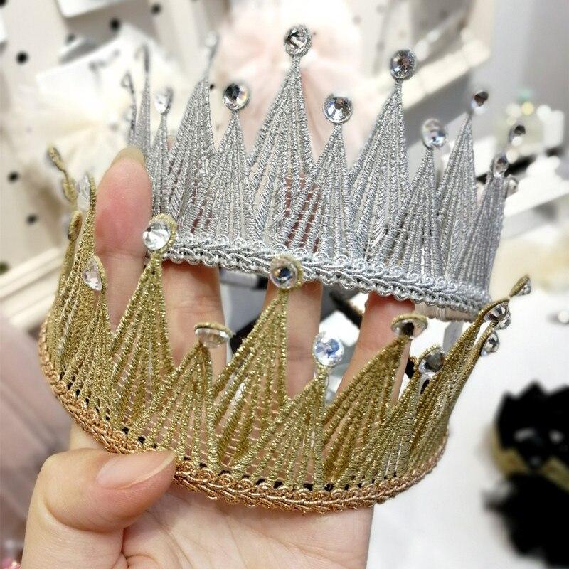 1 unids/lote corona de fieltro con purpurina. Diadema sólida de perlas estilo real para niños diademas brillantes de cristal de lujo para niñas